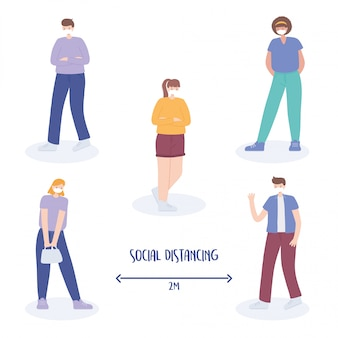 Covid 19コロナウイルスの社会的距離の防止、キャラクターの安全な距離の維持、集団発生の拡大、医療用フェイスマスクを持つ人々