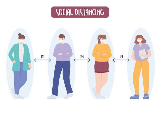 Covid 19コロナウイルスの社会的距離の予防、公共社会での距離の確保、集団発生、医療用フェイスマスクを持つ人々