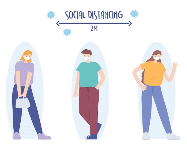 Covid 19コロナウイルス社会的距離の予防、感染のリスクと病気のために距離を置いている男女、医療用フェイスマスクを持つ人々