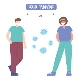Covid 19コロナウイルスの社会的距離の予防、男性と女性、ウイルスの広がりを避ける、医療用フェイスマスクの図を持つ人々