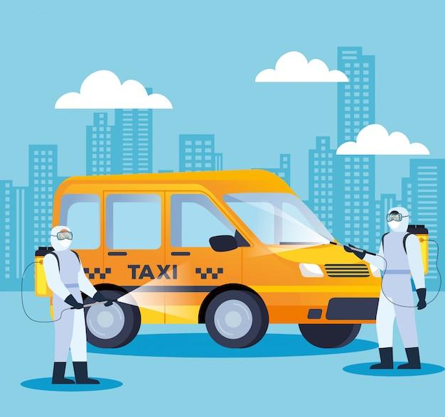 Covid 19病気イラストデザインの車両タクシー消毒サービス