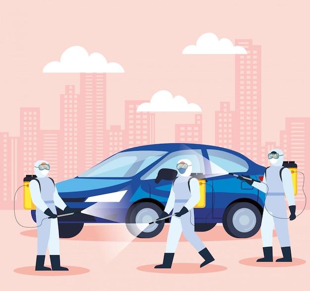 Covid 19病気イラストデザインのための自動車消毒サービス
