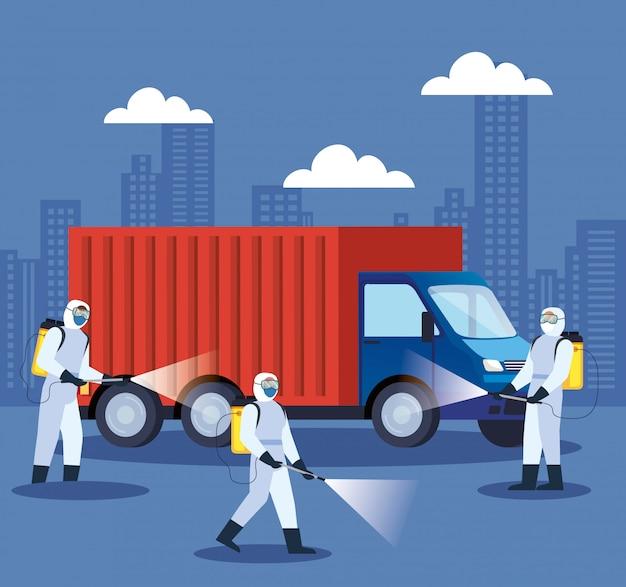 Covid 19病気イラストデザインのトラック消毒サービス