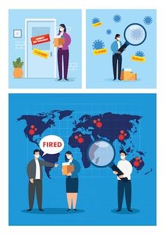Коронавирус, безработица, безработные из covid 19, компания закрыта и бизнес закрыт, сцены безработицы людей, используя дизайн иллюстрации маски для лица