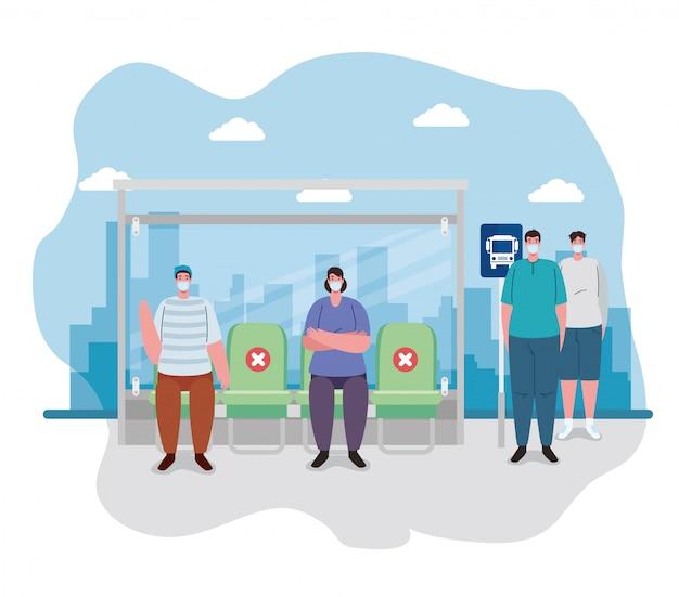 バス停の人々との社会的距離、乗客を待っているバス停、多様な通勤者が集まる都市のコミュニティ輸送、予防コロナウイルスcovid 19