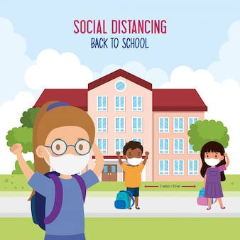 学校に戻って新しい通常のライフスタイルコンセプト、医療用マスクと社会的距離を身に着けている子供たちはファサード学校でコロナウイルスcovid 19を保護します