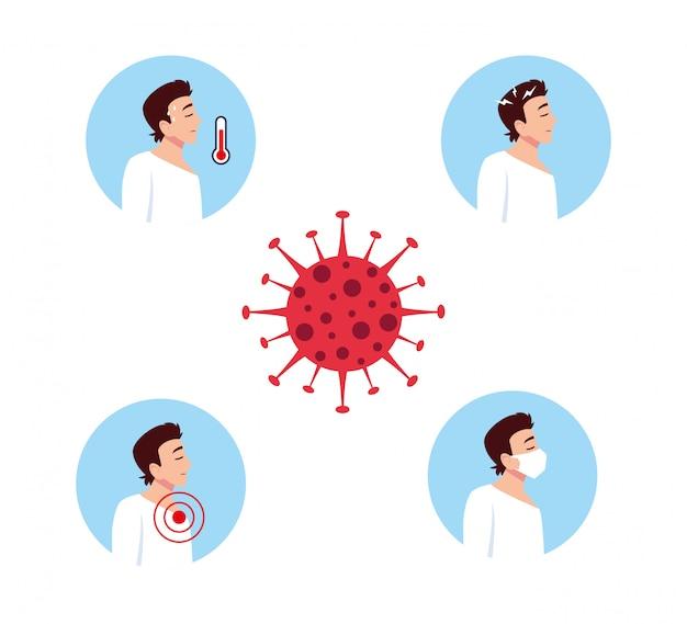 Covid 19ウイルス症状ベクターデザインを持つ男