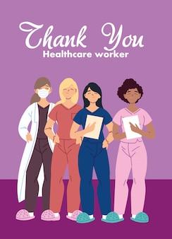 医療のマスクデザインとcovid 19ウイルステーマを持つ女性医師