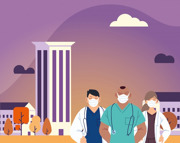 医療の都市デザインとcovid 19ウイルステーマの前にマスクを持つ男性と女性の医者