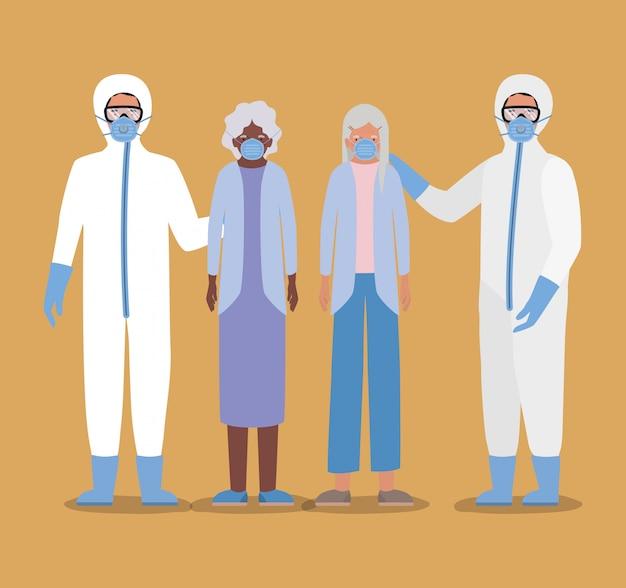 Женщины старшего возраста в масках и доктора в защитных костюмах против дизайна covid 19