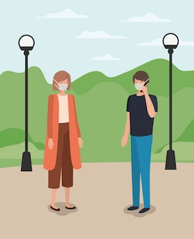 Социальное дистанцирование между мальчиком и девочкой в масках при проектировании парка на тему вируса covid 19