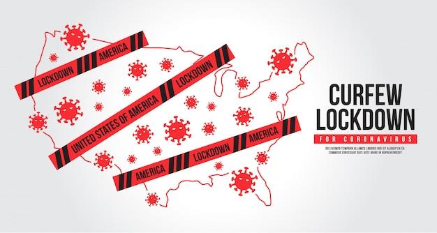 Комендантский час для коронавируса соединенных штатов америки. значок блокировки covid-19. блокировка города, чтобы предотвратить распространение коронавируса.