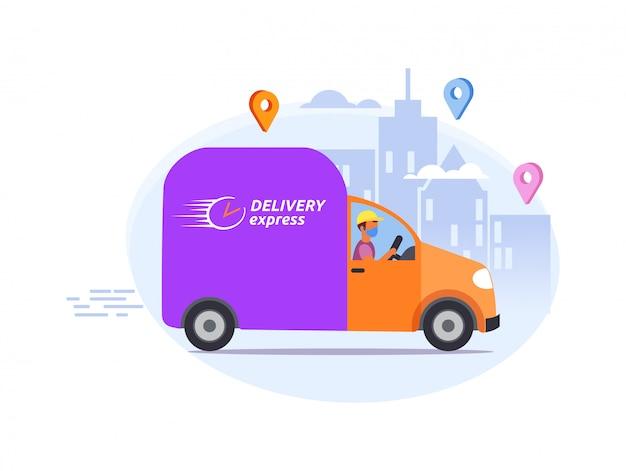 食品または製品は、ドアまで迅速に配達され、宅配便で医療用、防護用、呼吸マスク用の自転車、車を運転します。コロナウイルス、市内のcovid 19検疫高速配信アドレス。