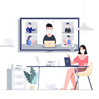 ロックダウンされたビジネスのために、在宅での在宅電話会議で仕事をします。 covid-19コロナウイルスの発生の概念。フラットなデザインの抽象的な人々。