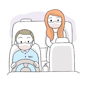 Мультфильм милый коронавирус, covid-19, женщина и водитель такси