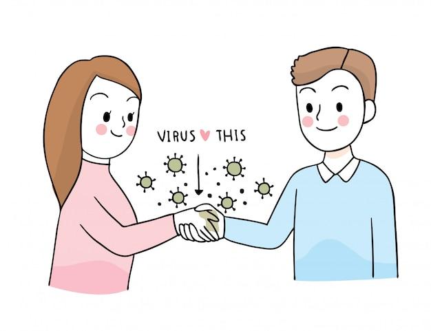 Мультфильм милый коронавирус, covid-19, женщина, приветствующая рукопожатие с другом