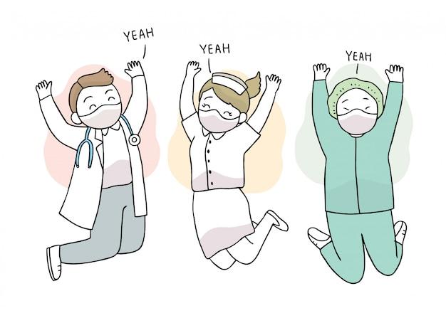 漫画かわいいコロナウイルス、covid-19、幸せなスタッフ病院