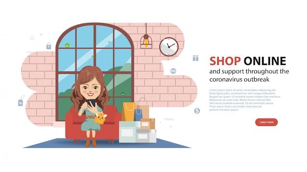 Покупатель, делающий покупки онлайн во время covid-19. оставайтесь дома, избегайте распространения коронавируса.