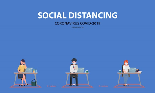 ビジネスオフィスの人々は社会的距離を維持します。 covid-19コロナウイルスを停止します。