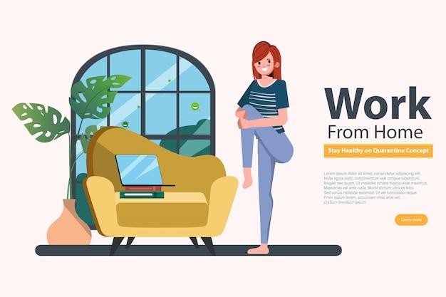 Работающая женщина оставайтесь дома, избегайте распространения коронавируса во время covid-19. работа от дома до безопасной жизни. йога упражнения для релаксации.