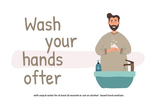 男は手を洗います。洗面台に立っている視点の少年。きれいな手。毎日のパーソナルケア。 covid-19防止。フラットな漫画のスタイルのイラスト。
