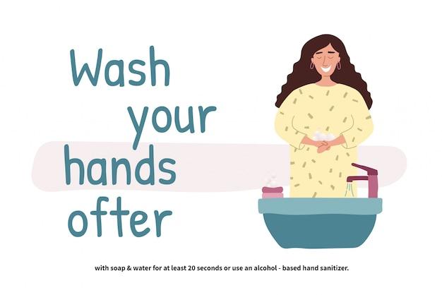 手を洗う女。洗面台に立っている視点の若い女の子。きれいな手。毎日のパーソナルケア。 covid-19防止。フラットな漫画のスタイルのイラスト。