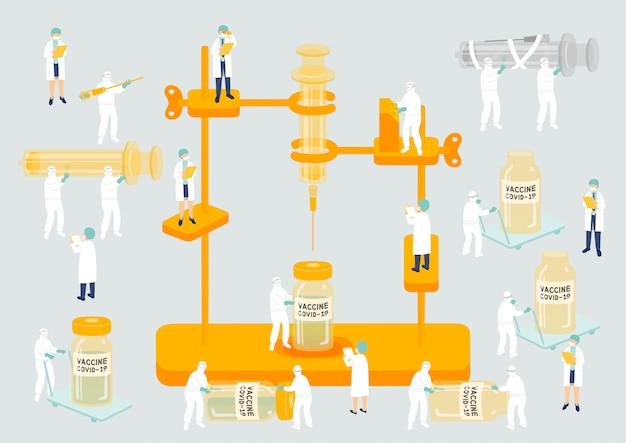 Медицинский персонал управление коллективом производство миниатюрная сборочная лаборатория сотрудники команды генерируют вакцину covid-19, метафору научной лаборатории изолированный плакат или социальный баннер