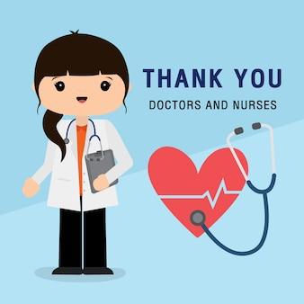 Доктор мультипликационный персонаж. спасибо, доктора и медсестры, работающие в больнице и борющиеся с коронавирусом, covid-19 уханьская вирусная болезнь, векторная иллюстрация.