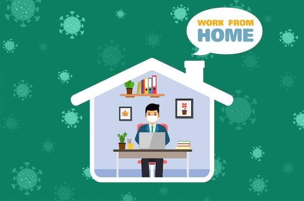ビジネスマンは家、コロナウイルスのために働きます。 covid-19サイン