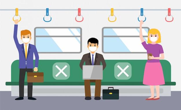 新しい通常、ビジネスマンはcovid-19の間に電車の中で社会的距離を作る