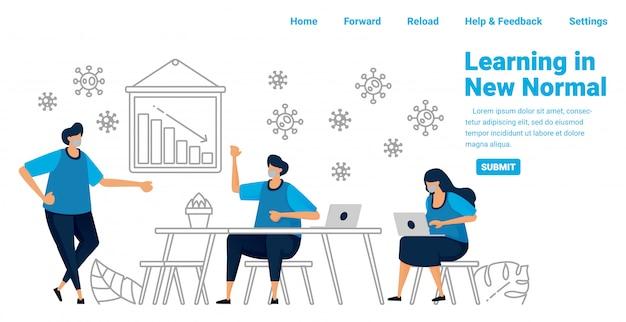 Covid-19中の新しい通常のプロトコルでの社会的距離の会議。新しいビジネスチャンスとパンデミックでの学習。ランディングページ、ウェブサイト、モバイルアプリ、ポスター、チラシ、バナーのイラストデザイン
