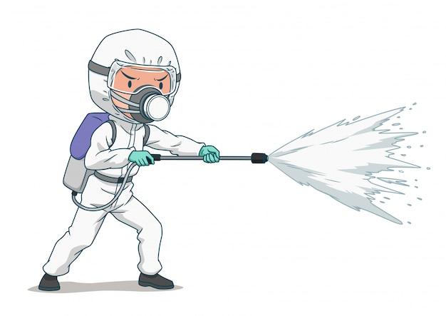 防護マスクと服を着て、コロナウイルスまたはcovid-19をスプレーする消毒作業者の漫画のキャラクター。