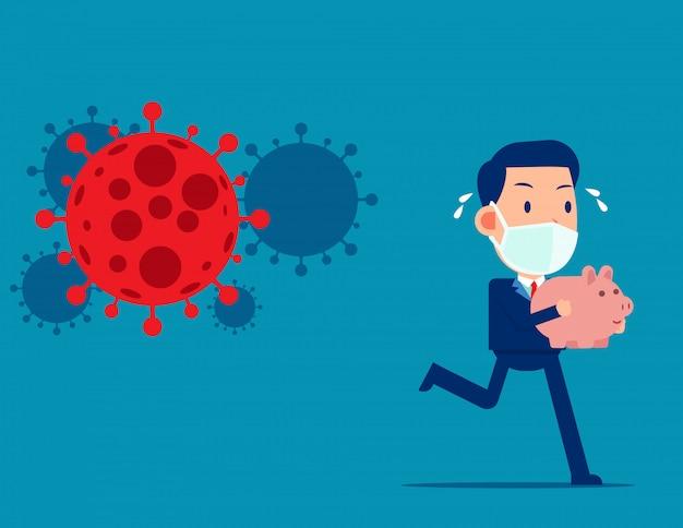Бизнесмен держит копилку убегая за covid - 19. паника на фондовом рынке продать от коронавирусного патогена
