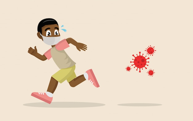 パニックで走っているアフリカの少年はウイルスから逃げています。コロナウイルスの危機、covid-19。