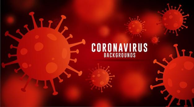 コロナウイルスの背景、covid-19の背景、ウイルスの背景、赤い栗色のグラデーションのコロナウイルスの背景