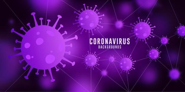 コロナウイルスの背景、covid-19の背景、ウイルスの背景、紫青のグラデーションのコロナウイルスの背景