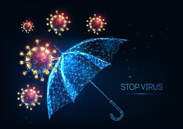 暗い青色の背景に未来的なcovid-19コロナウイルス保護の概念