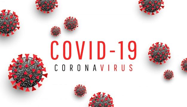 Иллюстрация коронавирусной болезни covid-19 с молекулой вируса и текстом
