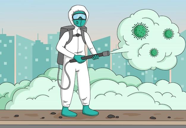 消毒作業員がコロナウイルスまたはcovid-19をスプレーし、防護マスクを着用し、街の背景に合わせて