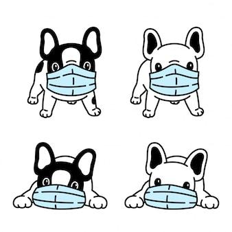 Собака французского бульдога маска для лица коронавирус covid-19