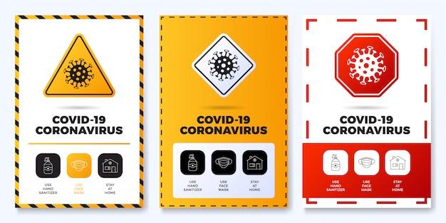 Covid-19防止オールインワンアイコンポスターセットイラスト。概要アイコンセットと道路警告標識のコロナウイルス保護チラシ。家にいる、フェイスマスクを使う、手の消毒剤を使う