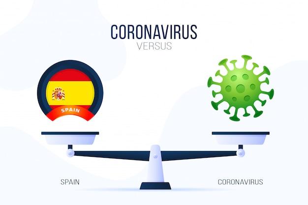 Коронавирус или испания иллюстрация. креативная концепция весов и против. на одной стороне весов лежит вирус covid-19, а на другой - значок флага испании. плоская иллюстрация.
