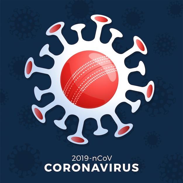 クリケットボールサイン注意コロナウイルス。 covid-19の発生を止めます。コロナウイルスの危険性と公衆衛生上のリスクの病気のインフルエンザの発生。スポーツイベントと試合のコンセプトのキャンセル