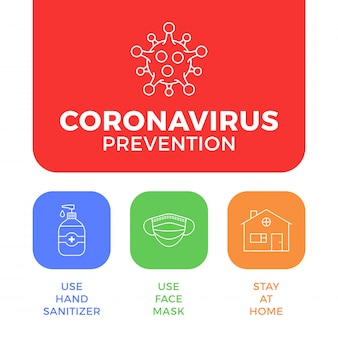 Профилактика covid-19 все в одном значок плаката иллюстрации. листовка защиты от коронавируса с наброски значок набор. оставайтесь дома, используйте маску для лица, используйте дезинфицирующее средство для рук