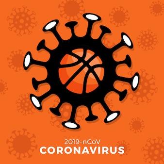 バスケットボールサイン注意コロナウイルス。 covid-19の発生を止めます。コロナウイルスの危険性、公衆衛生上のリスク、インフルエンザの発生。スポーツイベントと試合のコンセプトのキャンセル