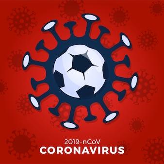 フットボールまたはサッカーボールサイン注意コロナウイルス。 covid-19の発生を止めます。コロナウイルスの危険性と公衆衛生上のリスクの病気のインフルエンザの発生。スポーツイベントと試合のコンセプトのキャンセル