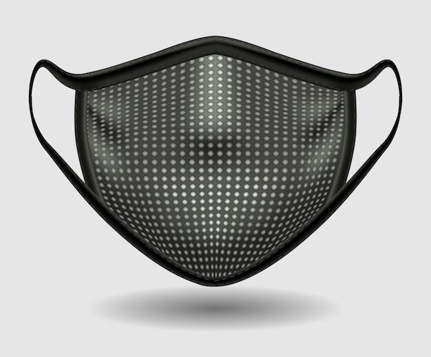 コロナウイルスcovid-19のミシン目が入った黒い医療用マスク。