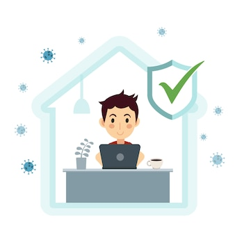 Само-карантинная концепция. работа на дому во время вспышки вируса covid-19. человек, работающий на ноутбуке. иллюстрации.