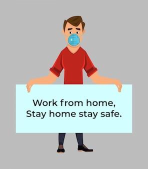 家にいることでコロナウイルスとcovid-19の蔓延を防ぐように人々に要求するポスターを掲げた少年