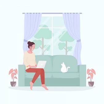 ホームコンセプトから作業します。 covid-19の蔓延中の在宅勤務の女性。図。